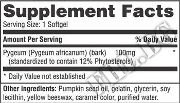 Съдържание » Дозировка » Прием » Как се пие » Pygeum for Men 100mg 60 Softgels » Haya labs » Билки за простата