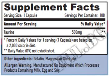 Съдържание » Дозировка » Прием » Как се пие »  Taurine 500mg 60 Vcaps » Haya labs » Таурин