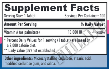 Съдържание » Дозировка » Прием » Как се пие » Витамин А 10,000 IU » Haya labs » Витамини и минерали