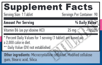Съдържание » Дозировка » Прием » Как се пие » Vitamin B6 25mg » Haya labs » Витамин B6