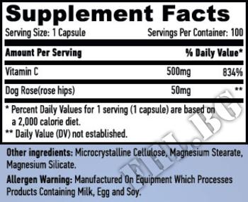 Съдържание » Дозировка » Прием » Как се пие » Vitamin C with Rose Hips 500 mg » Haya labs » Витамин C