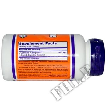 Съдържание » Дозировка » Прием » Как се пие »  L-Carnitine 500 мг - 30 капсули » Now Foods » Л-карнитин