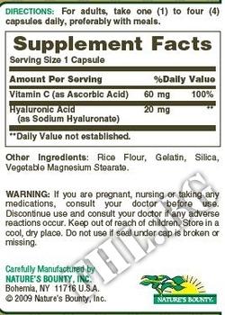 Съдържание » Дозировка » Прием » Как се пие »  Hyaluronic Acid NB » Nature's Bounty » Хиалуронова киселина