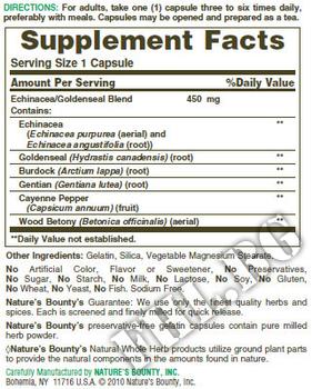 Съдържание » Дозировка » Прием » Как се пие » Nature's Bounty Echinacea & Goldenseal » Nature's Bounty » Ехинацея