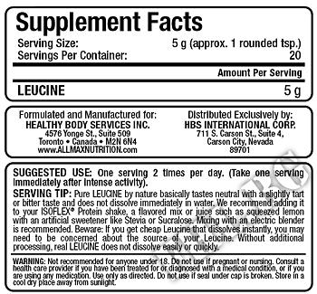 Съдържание » Дозировка » Прием » Как се пие » Leucine | Левцин » Allmax Nutrition » Есенциални аминокиселини