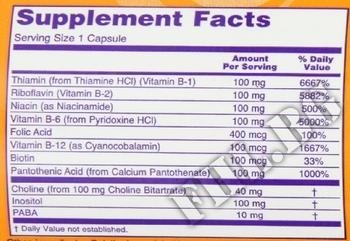 Съдържание » Дозировка » Прием » Как се пие »  Vitamin B-100 Complex » Now Foods » Витамин B-Complex