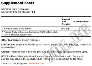 Съдържание » Дозировка » Прием » Как се пие » L-Phenylalanine 500 mg 60 caps » Now Foods » Есенциални аминокиселини