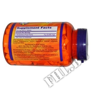 Съдържание » Дозировка » Прием » Как се пие » L-Glutamine 1500 мг - 90 таблетки » Now Foods » Глутамин на капсули