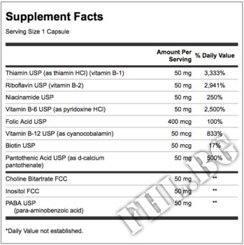 Съдържание » Дозировка » Прием » Как се пие » BALANCE B-50 100 caps » Swanson » Витамин B-Complex