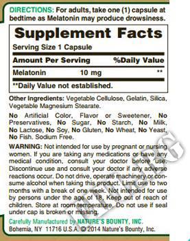 Съдържание » Дозировка » Прием » Как се пие » Melatonin 10 mg NB » Nature's Bounty » Здрав сън