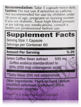 Съдържание » Дозировка » Прием » Как се пие » Green Coffee Bean Standardized » Nature's Way » Зелено кафе