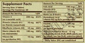 Съдържание » Дозировка » Прием » Как се пие » Vitamin B-Complex + Vitamin C » Solgar » Витамин B-Complex