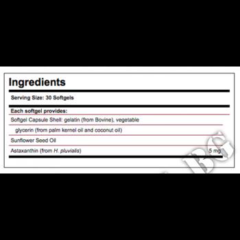 Съдържание » Дозировка » Прием » Как се пие » ASTAXANTHIN 5mg 30 softgels  » Solgar » Антиоксиданти