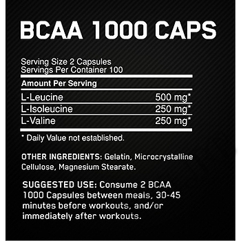 Съдържание » Дозировка » Прием » Как се пие »  Bcaa 1000 200 caps » Optimum Nutrition » BCAA