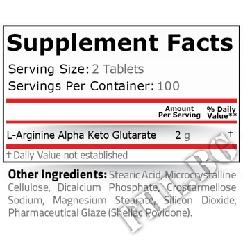 Съдържание » Дозировка » Прием » Как се пие » AAKG 1000 mg - 200 tablets » Pure Nutrition » Аргинин