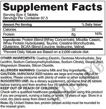Съдържание » Дозировка » Прием » Как се пие »  Aminomax 8000 » Gaspari Nutrition » Комплексни аминокиселини