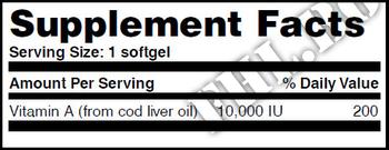 Съдържание » Дозировка » Прием » Как се пие » Vitamin A 10,000 IU / 100 Softgels » Haya labs » Витамин А