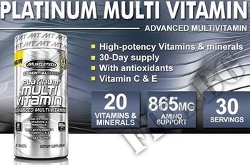 Съдържание » Дозировка » Прием » Как се пие » Essentials series Platinum 100% MultiVitamin » MuscleTech » Мултивитамини