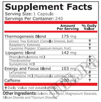 Съдържание » Дозировка » Прием » Как се пие » Black Fire 240caps » Pure Nutrition » Термогенни фетбърнъри
