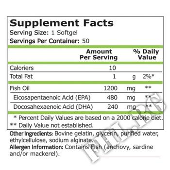 Съдържание » Дозировка » Прием » Как се пие »  Fish Oil 480 EPA / DHA 240 - 50 Softgels » Pure Nutrition » Омега 3 Рибено масло