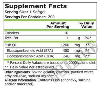 Съдържание » Дозировка » Прием » Как се пие »  Fish Oil 480 EPA / DHA 240 - 200 Softgels » Pure Nutrition » Омега 3 Рибено масло