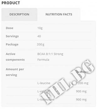 Съдържание » Дозировка » Прием » Как се пие » BCAA 8:1:1 Strong Formula 200 gr » ALLNUTRITION » BCAA на прах