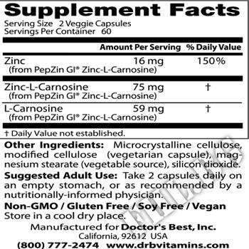 Съдържание » Дозировка » Прием » Как се пие » PepzinGI - 120 Caps » DOCTOR'S BEST » Цинк