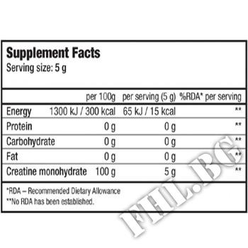 Съдържание » Дозировка » Прием » Как се пие » 100% Creatine Monohydrate - 1000g » BioTech USA » Креатин монохидрат