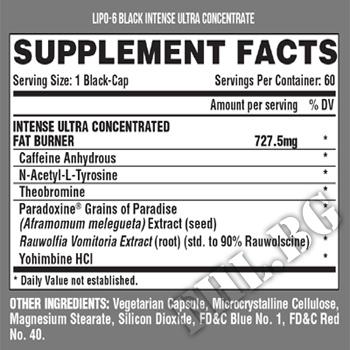 Съдържание » Дозировка » Прием » Как се пие » Lipo 6 black intense UC » Nutrex » Термогенни фетбърнъри