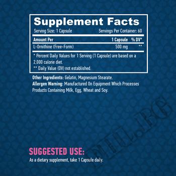 Съдържание » Дозировка » Прием » Как се пие »  L-ornithine 500 mg / 60 caps. » Haya labs » Аминокиселини