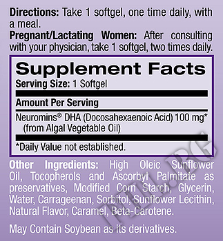 Съдържание » Дозировка » Прием » Как се пие » DHA Omega-3 100mg  » Natrol » Омега 3 Рибено масло