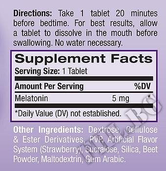 Съдържание » Дозировка » Прием » Как се пие » Melatonin Fast Dissolve 5mg бързо разтворим  » Natrol » Здрав сън