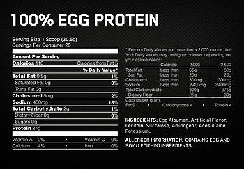 Съдържание » Дозировка » Прием » Как се пие » Egg Protein Optimum » Optimum Nutrition » Яйчен протеин
