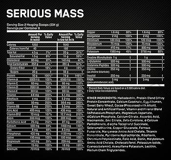 Съдържание » Дозировка » Прием » Как се пие »  Serious Mass - 2.72 кг » Optimum Nutrition » Гейнъри