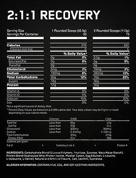 Съдържание » Дозировка » Прием » Как се пие » 2:1:1 Recovery - Шоколад 1.7 кг » Optimum Nutrition » Качване на мускулна маса