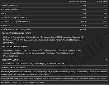Съдържание » Дозировка » Прием » Как се пие » Hyper Shred » BSN » Термогенни фетбърнъри