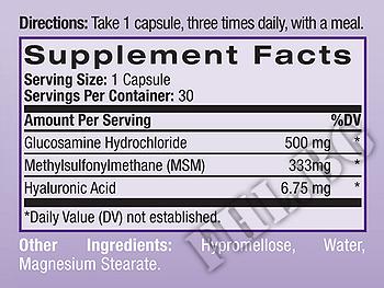 Съдържание » Дозировка » Прием » Как се пие »  Hyaluronic acid, MSM & Glucosamine » Natrol » Стави и сухожилия