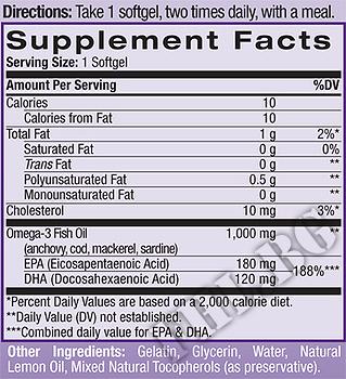 Съдържание » Дозировка » Прием » Как се пие » Omega-3 Fish Oil 90 caps » Natrol » Омега 3 Рибено масло