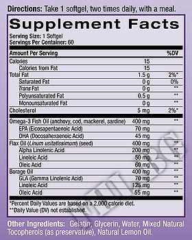 Съдържание » Дозировка » Прием » Как се пие » Omega 3-6-9 Complex 60 softgels » Natrol » Мастни киселини