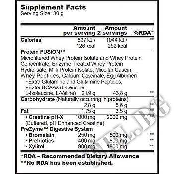 Съдържание » Дозировка » Прием » Как се пие » Nitro Gold Pro Enzy fusion 500g » BioTech USA » Протеинова матрица