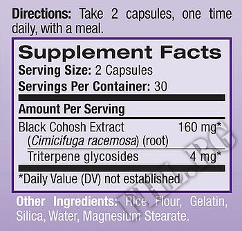 Съдържание » Дозировка » Прием » Как се пие » Black Cohosh Extract  » Natrol » Менопауза