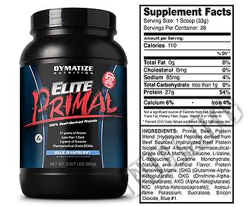 Съдържание » Дозировка » Прием » Как се пие » Elite primal 2 lbs » Dymatize  » Телешки протеин