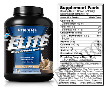 Съдържание » Дозировка » Прием » Как се пие »  Elite whey protein 5lbs » Dymatize  » Протеин