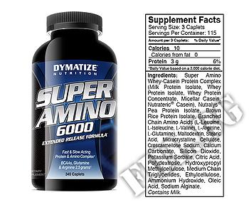 Съдържание » Дозировка » Прием » Как се пие »  Super Amino 6000 345капс » Dymatize  » Комплексни аминокиселини