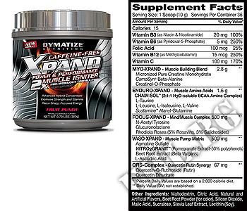 Съдържание » Дозировка » Прием » Как се пие » Xpand 2X caffeine free 0.793 lbs » Dymatize  » Азотни бустери